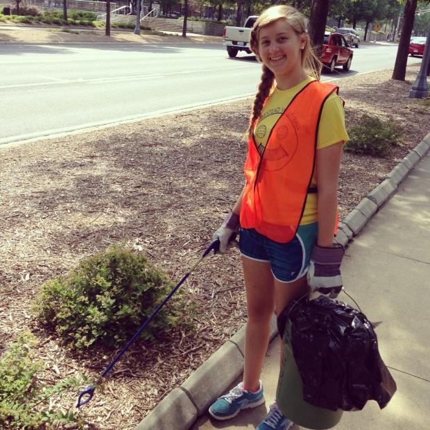 Kelsi enjoys picking up trash
